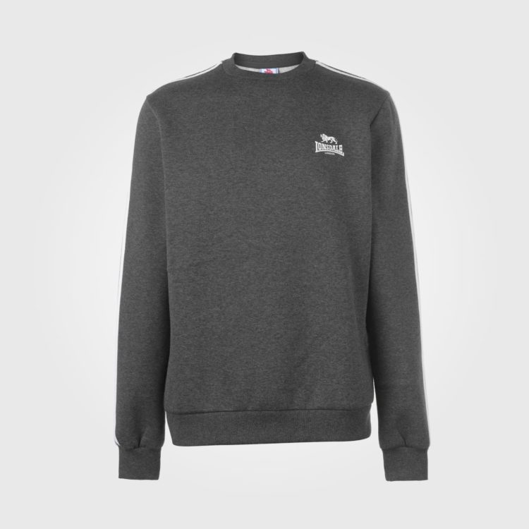 Свитер Lonsdale 2S Crew Neck Sweater Mens Charcoal/White
