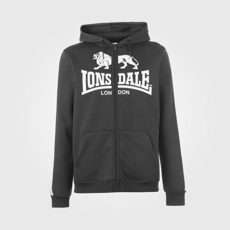 Толстовка Lonsdale 2S Zip Hoody Mens CharcoalM/White