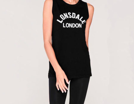 Футболка женская Lonsdale Long Line Tank Top Black
