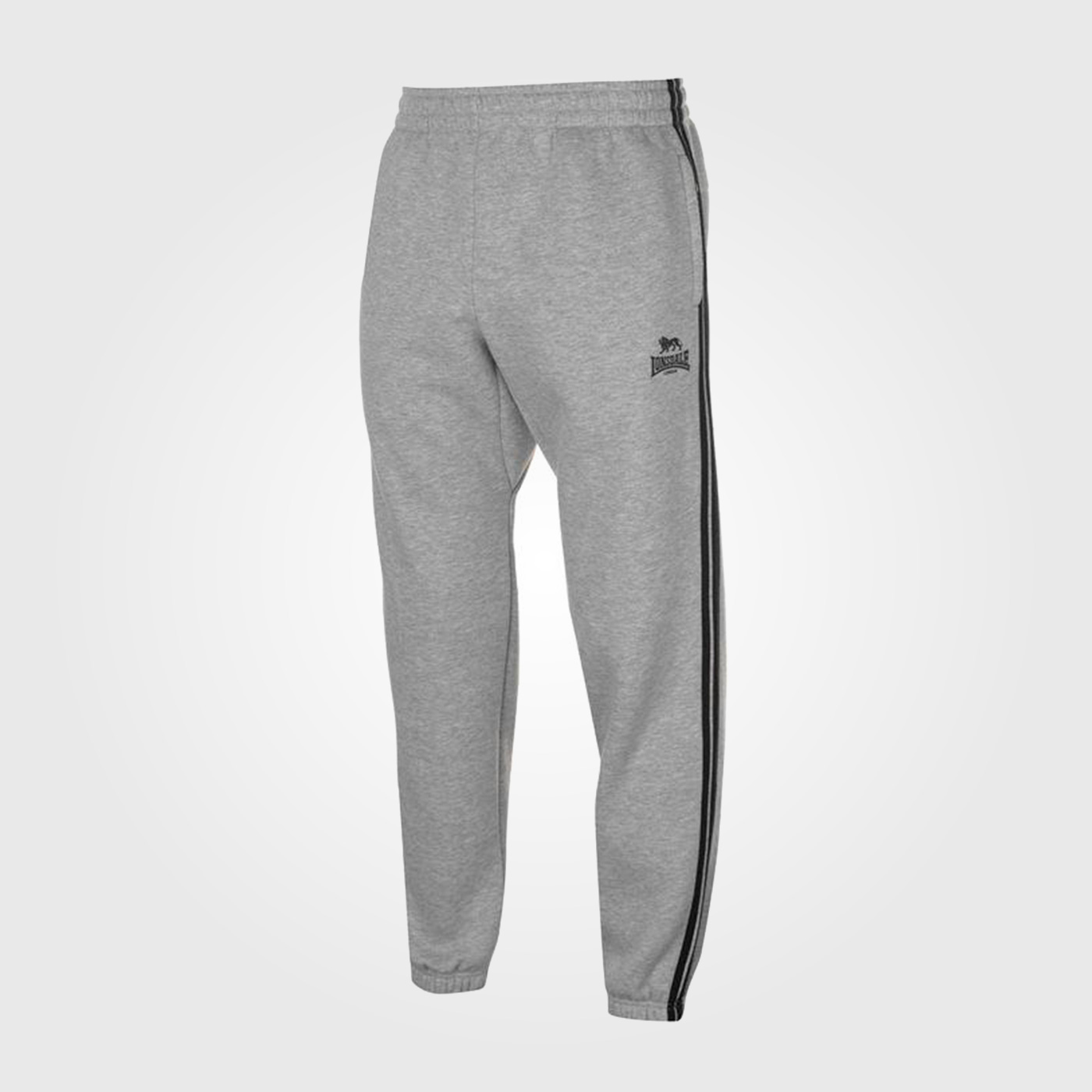 Спортивные штаны Lonsdale 2 Stripe Jogging Mens Grey Marl/Black