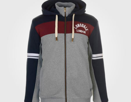 Толстовка Lonsdale Zip Mens Navy/Burgundy