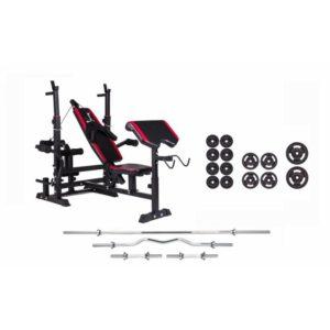 Набор Strong 83 кг. железные блины,грифы + скамья HS-1075 с тягой