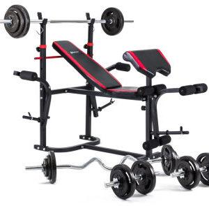 Набор  Strong 133 кг. Железные блины,грифы со скамьей HS-1020
