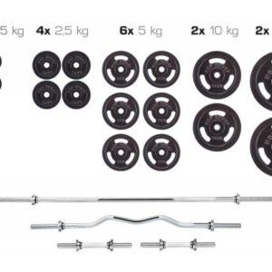 Набор металлический Strong штанга и гантели 129 кг