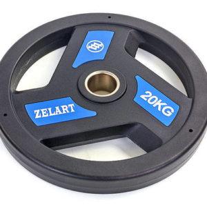Блин (диск) полиуретановый с хватом и металлической втулкой d-51мм Zelart TA-5344-20 20кг (черный)