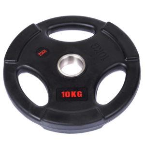 Блины (диски) обрезиненные с тройным хватом d-51мм Life Fintess 10кг (черный)