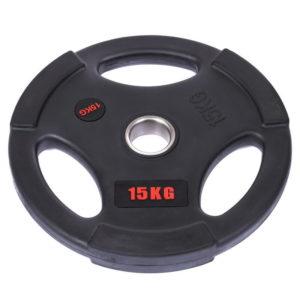 Блины (диски) обрезиненные с тройным хватом d-51мм Life Fintess 15кг (черный)