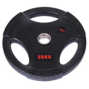 Блины (диски) обрезиненные с тройным хватом d-51мм Life Fintess 25кг (черный)