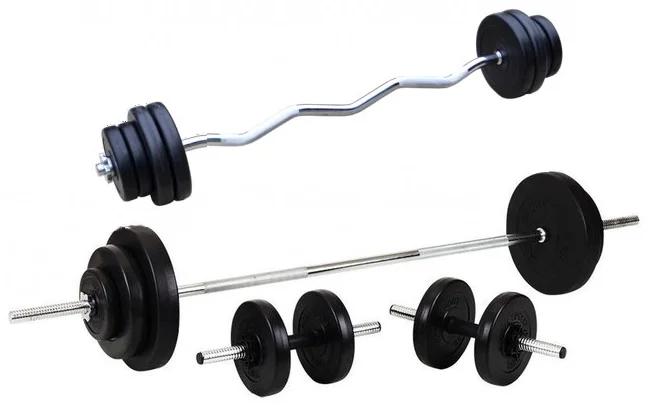 Силовой набор на 80 кг. 4 грифа + блины. Диски с ABS 1