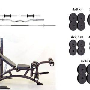 Скамья Iron Body 7858 + 4 грифа + 115 кг блинов композитных