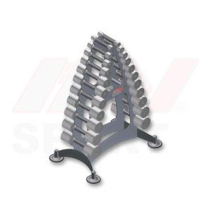 Гантельная горка с набором хромированных гантелей 0,5 - 10 кг - Prime
