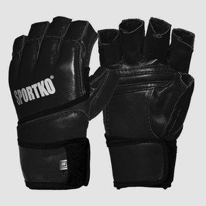 Перчатки с открытыми пальцами кожа