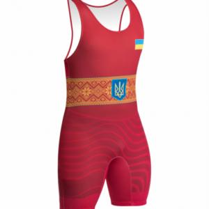 Борцовское трико детское сборной Украины красное