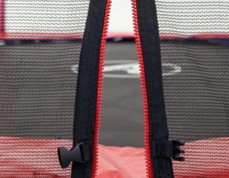 Батут Atleto 252 см с двойными ногами с сеткой красный