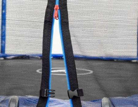 Батут Atleto 252 см с двойными ногами с сеткой синий