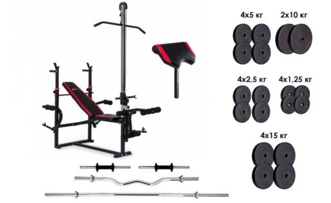 Скамья для жима с тягой, 4 грифа, 115 кг блинов RN-Sport