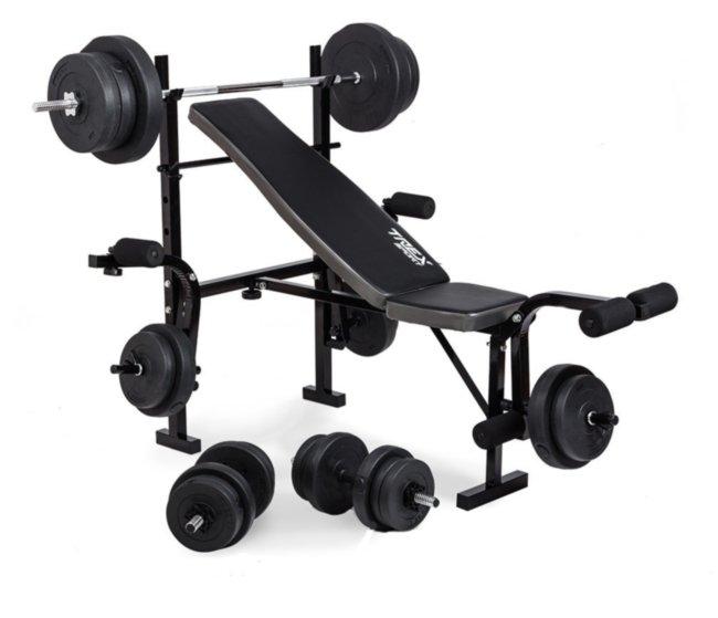 Скамья с тренажерами TRX 055 + набор силовой на 70 кг Rn-Sport
