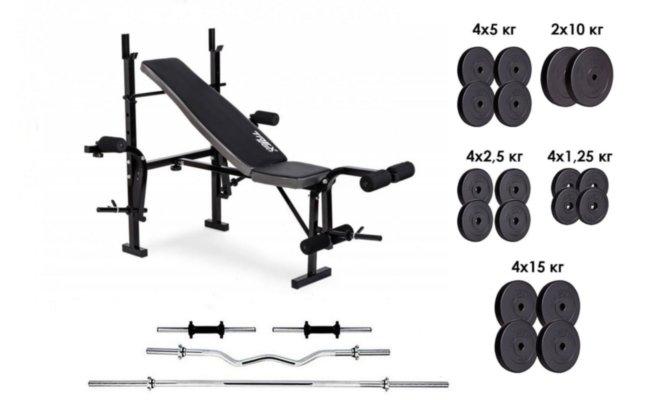 Скамья для жима 055, 4 грифа, 115 кг блинов RN-Sport