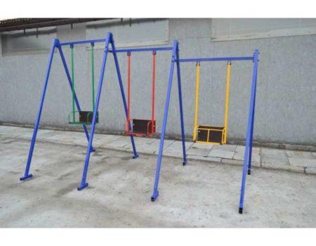 Трехместные детские металлические качели для улицы Качели