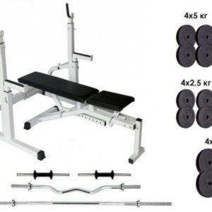 Скамья для жима,стойки для приседаний 50S + Штанга 125 кг + 3 грифа