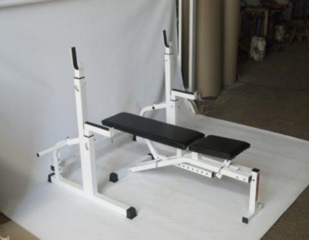 Скамья для жима + Стойки для приседний + 4 грифа + 75 кг блинов