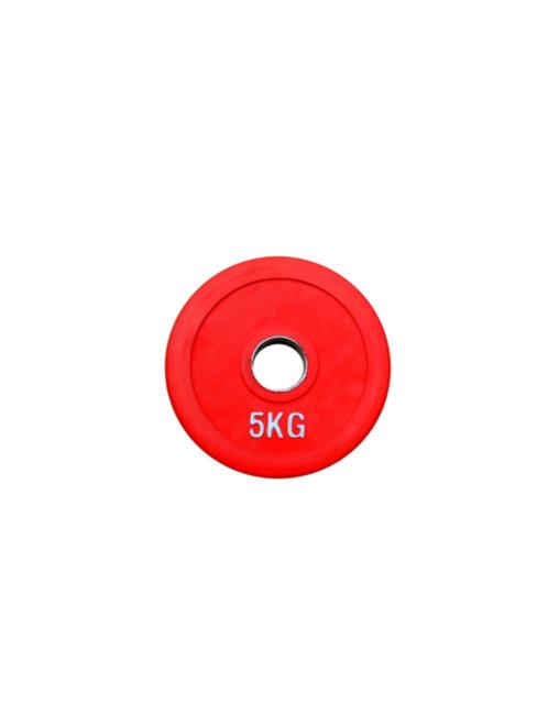 Диск обрезиненный, красный RN-Sport Alex 5 кг - 51 мм