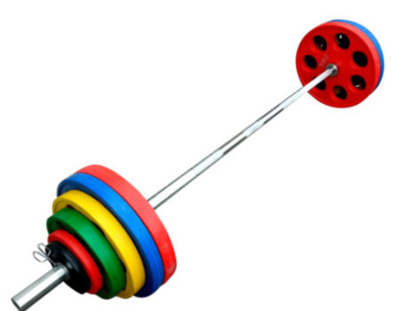 Штанга обрезиненная с цветными дисками на 145 кг RN-Sport