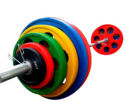 Штанга обрезиненная с цветными дисками на 255 кг RN-Sport