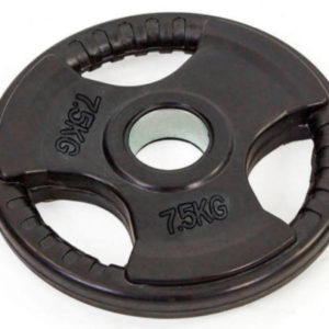 Блин (диск) обрезиненный 7,5кг с тройным хватом и металлической втулкой d-52мм TA-8122- 7,5  (черный)