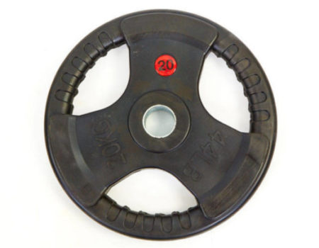 Блин (диск) обрезиненный 20кг с тройным хватом и металлической втулкой d-52мм TA-8122-20 (черный)