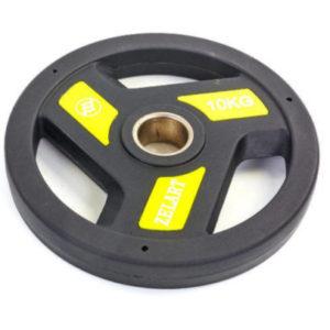 Блин (диск) полиуретановый с хватом и металлической втулкой d-51мм Zelart TA-5344-10 10кг (черный)