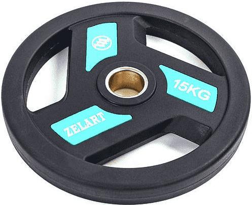 Блин (диск) полиуретановый с хватом и металлической втулкой d-51мм Zelart TA-5344-15 15кг (черный)