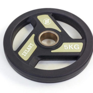 Блины (диски) полиуретановые с хватом и металлической втулкой d-51мм Zelart TA-5344-5 5кг (черный)
