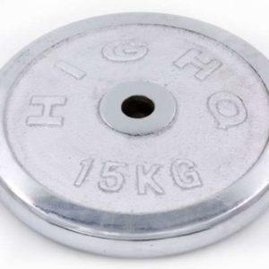 Блин (диск) хромированный d-30мм HIGHQ SPORT ТА-1455 15кг (металл хромированный)