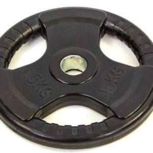 Блин (диск) обрезиненный 15кг с тройным хватом и металлической втулкой d-52мм TA-8122- (черный)
