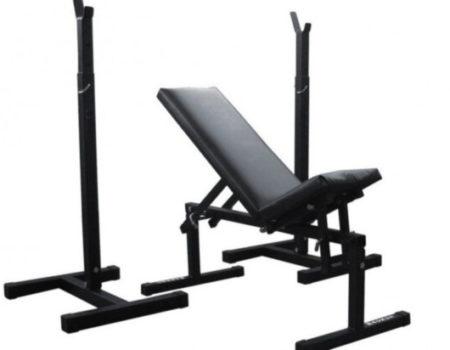 Скамья для жима RN-Sport стойки для приседаний + набор штанг 90 кг