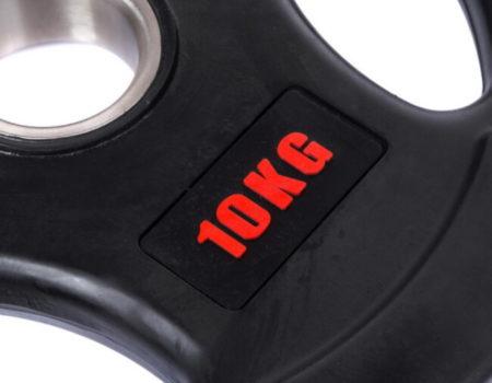 Блин (диск) обрезиненный с тройным хватом d-51мм Life Fintess 10кг (черный)