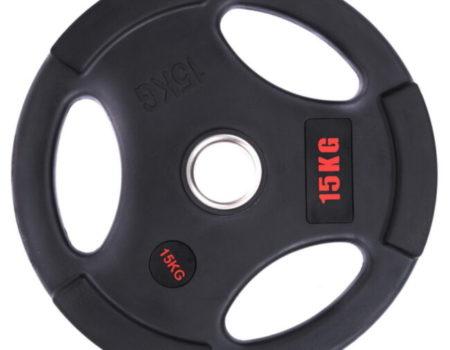 Блин (диск) обрезиненный с тройным хватом d-51мм Life Fintess 15кг (черный)