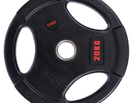 Блин (диск) обрезиненный с тройным хватом d-51мм Life Fintess  20кг (черный)