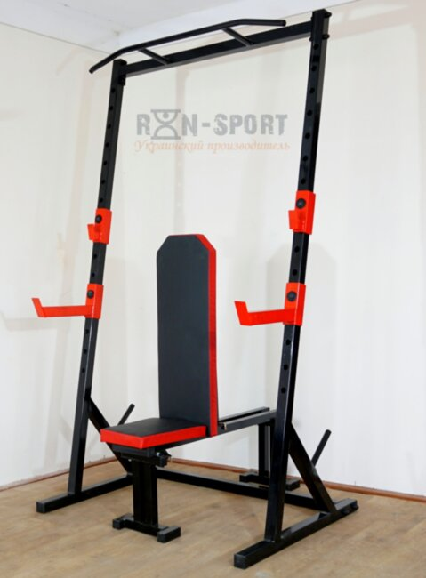 Стойка силовая с турником+ Скамья для жима PROF Rn-Sport Powertec RED