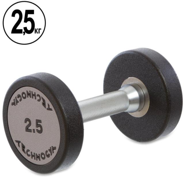 Гантель цельная профессиональная TECHNOGYM (1шт) TG-1834-2_5 2,5кг (полиуретановое покрытие, вес 2,5кг)