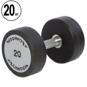 Гантель цельная профессиональная TECHNOGYM (1шт) TG-1834-20 20кг (полиуретановое покрытие, вес 20кг)