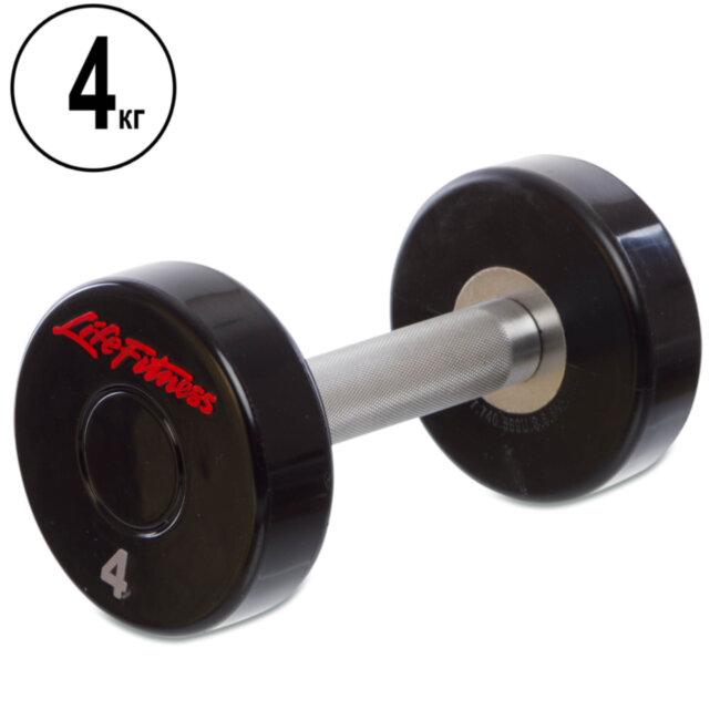 Гантель цельная профессиональная Life Fitness (1шт) SC-80081-4 4кг (полиуретановое покрытие, вес 4кг)