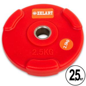 Блин (диск) полиуретановый 2,5 кг  d-28мм (красный)