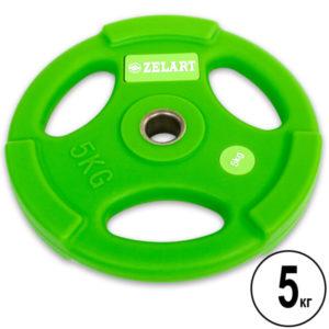 Блин (диск) полиуретановый 5 кг d-28мм  (салатовый)