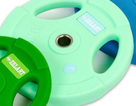 Блин (диск) полиуретановый 10кг  d-28мм   (мятный)