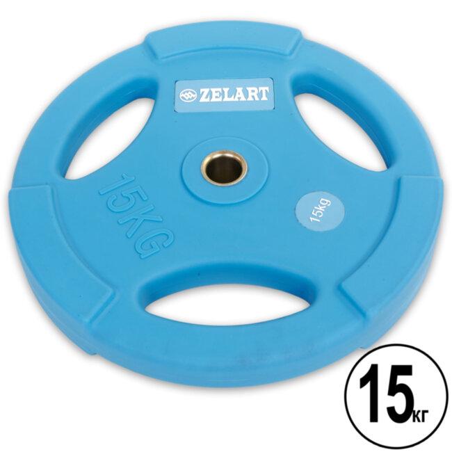 Блин (диск) полиуретановый 15кг d-28мм  (синий)