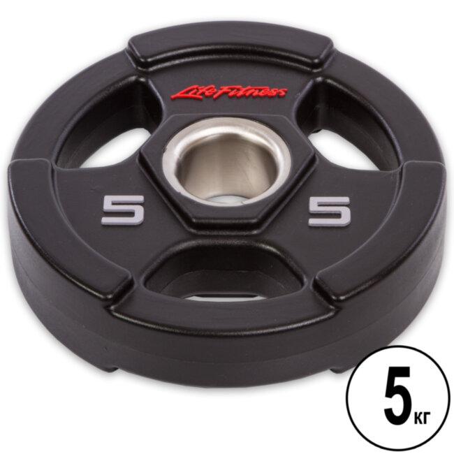 Блин (диск) полиуретановый  d-51мм Life Fintess  5кг