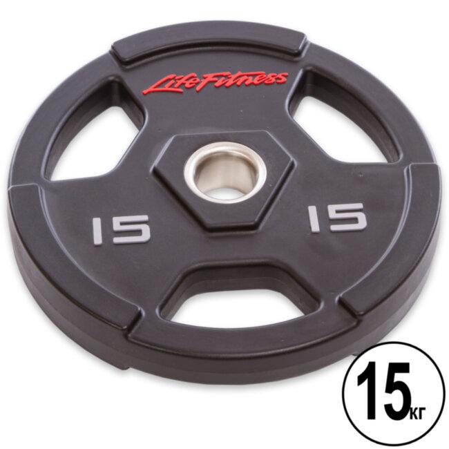 Блин (диск) полиуретановый  d-51мм Life Fintess 15 кг