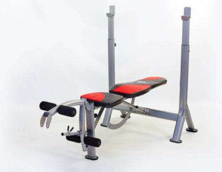 Скамья атлетическая универсальная с приставкой Скотта и тренажером для ног